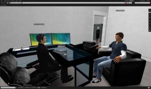 图2,虚拟情境计算机屏幕截图显示参与者(面试对象)接受治疗师(面试者)的询问,教练治疗师(站在门道口)在作观察及提供回应信息。